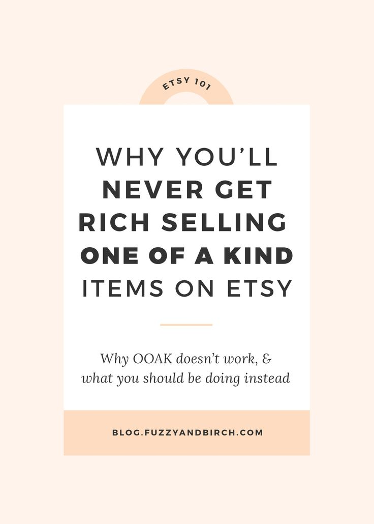 Etsy is synonymous with one-of-a-kind. But do you really need to create tons of completely unique, never-before-seen items to make money on Etsy? Today we're going to chat about one of a kind. And why it's actually killing your business. Click to learn how to strategize for more income.