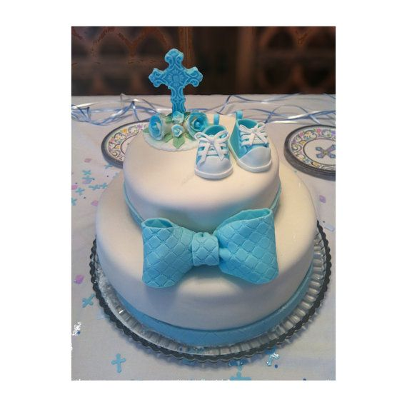 Edible Fondant Baby Shower Christening Set of Cake toppers: