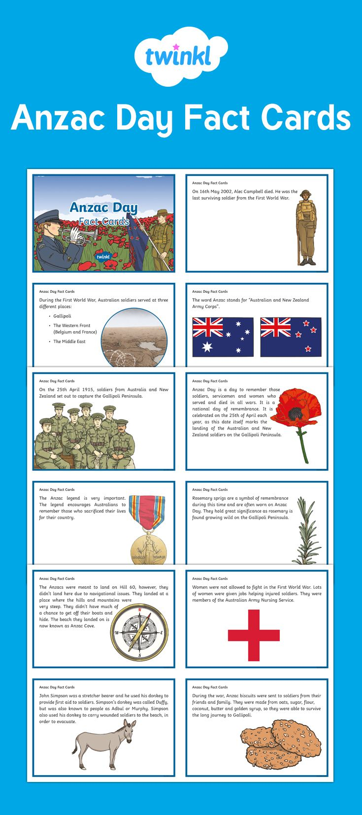 These Anzac Day fact cards are a great way to visualise all the important points in this topic, with clear text and lovely illustrations. This resource features 14 fact and history cards about Anzac Day and how it came to be. Great to use as part of your display, as writing aids or even as discussion prompts.