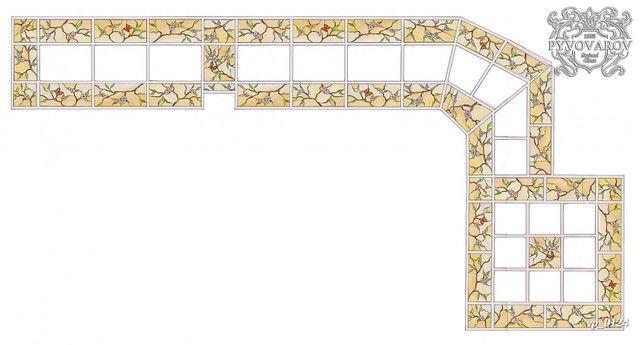 Угловой стеклянный потолок по технике Тиффани
