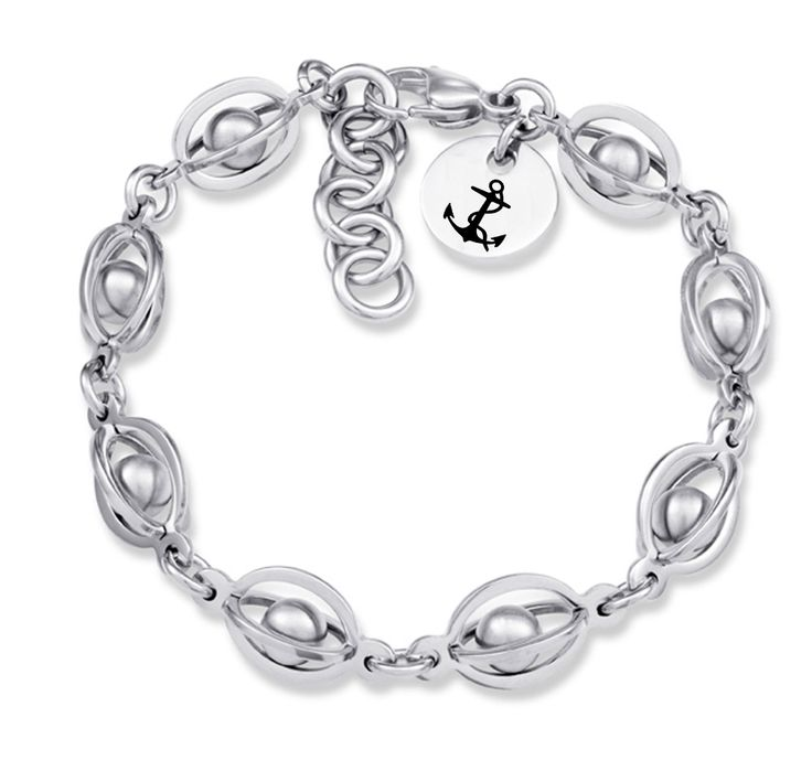 Delta Gamma Symbol Stainless Steel Birdcage Style Bracelet