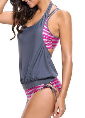 Tie Side Round Neck Striped Three Pieces Tankini on sale only US$32.89 now, buy cheap Tie Side Round Neck Striped Three Pieces Tankini at liligal.com