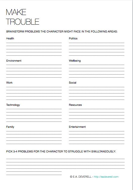 Writing Worksheet Wednesday: Make Trouble | e.a. deverell: creative writing blog