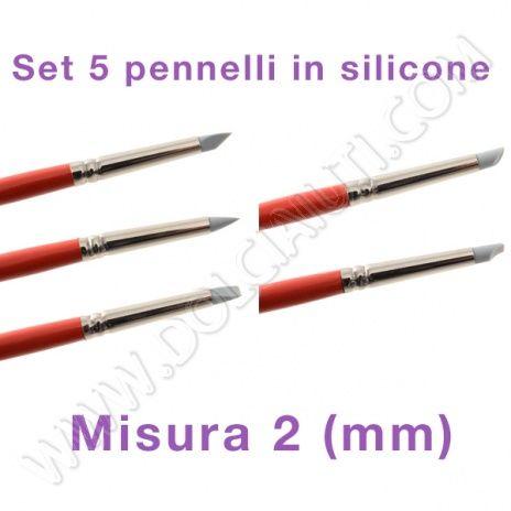 Modecor Pennelli punta in silicone per decorazione, misura 2 mm - 5 pezzi