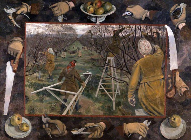 A 1944 Pastoral: Land Girls Pruning at East Malling  by Evelyn Mary Dunbar