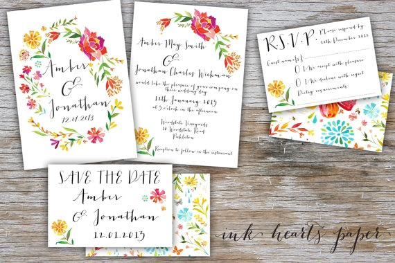 Wedding Invitations - printables. Boho Collection Invitation RSVP & save the date. Vintage, rustic, floral boho design perfect for summer spring garden DIY backyard wedding.