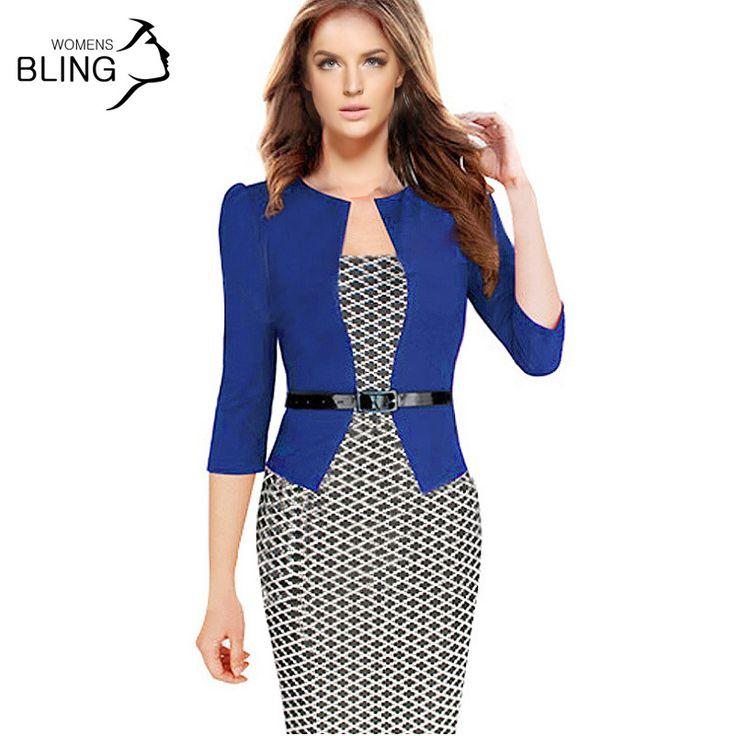 Kadınlar tek parça faux ceket 2016 bodycon kadın moda kılıf dress ofis lady patchwork tunik diz boyu çalışma kalem elbiseler