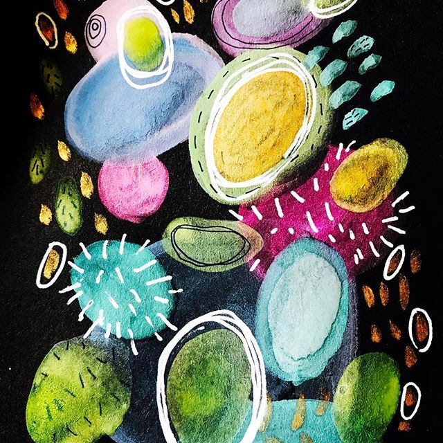 Today's paper magic brought to you by the paper colour black and featuring fabulous gouache in outstanding hues of various greens blues pinks yellows and golds #vanessamarshmakes #vanessamarshmakesamess #vanessamarshdraws #vanessamarshetsy #blackpaper  #blackpaperart #artonpaper #gouacheonpaper #gouachepattern #100daysofpapermagic #the100dayproject #gold #blue #pink #yellow #patterndesign #irishartist #irishinteriors #abstractarts #moderninterior