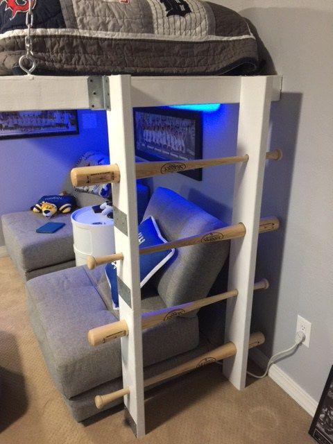 Baseball Bat Loft Bed Ladder Louisville Slugger Wood Teen Boys Bedroom Kc Royals