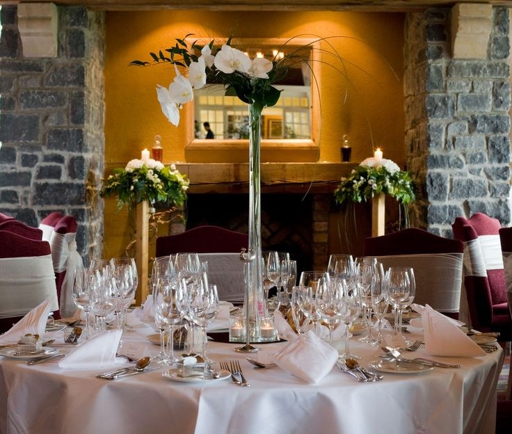 Floral Centrepiece at Kendals at The Clubhouse, ideal wedding venue for weddings under 160 guests.     Visit www.mountjuliet.ie for more details on this venue.