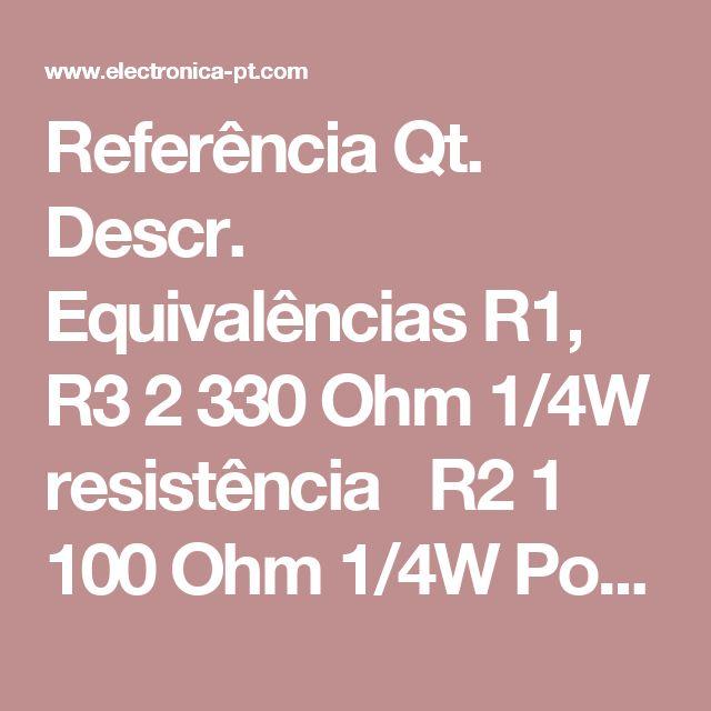 ReferênciaQt.Descr.Equivalências R1, R32330 Ohm 1/4W resistência R21100 Ohm 1/4W Pot R4, R5, R7, R8482 Ohm 2W resistência R61100 Ohm 1/4W resistência R911K 1/4W resistência C11220uF 25V Electrolytic Capacitor D11P600 díodoDiodo 50V 5A ou superior D211N4004 díodo1N4002, 1N4007 D315.6V Zener díodo D41LED (Red, Green or Yellow) Q11BT136 TRIAC Q21BRX49 SCR T1112V 4A TransformadorVer Notas F113A Fusível S11SPST Switch, 220VAC 5A…