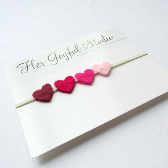 Valentines Baby Headband, Felt Heart Headband in sizes newborn, baby, toddler, child, and adult! HerJoyfulStudio, $6.50