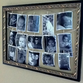 Glassless frame on clearance at Hobby Lobby (<$20) downloaded a bunch of pics from Facebook onto Walmart's website & printed ($3); trimmed them down to save space & allow for more pics; screw in 6 eye hooks along the sides; run twine in between; glued small ribbon around the edges of each trimmed pic; mini clothes pins also from Hobby Lobby. Loved this idea when I saw it. Just put my own spin on it. Yay Pinterest!