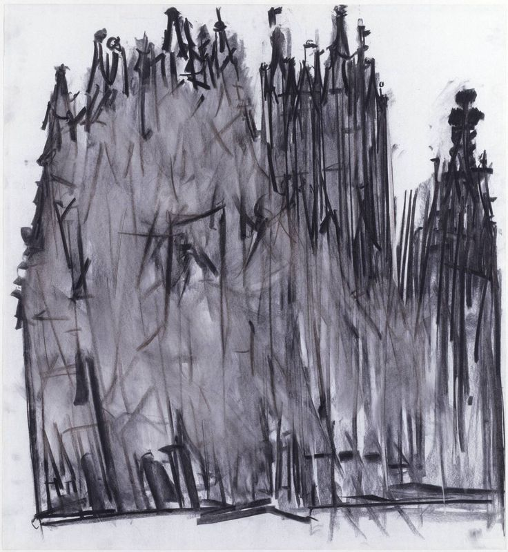 Dennis Creffield (born 1931) Canterbury Cathedral 1987 Charcoal on paper 1016 x 925 mm