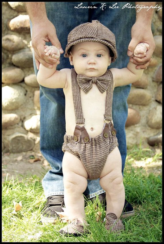 Adorable! Baby Boy Diaper Cover, Suspenders, Bow Tie, and Newsboy Hat.