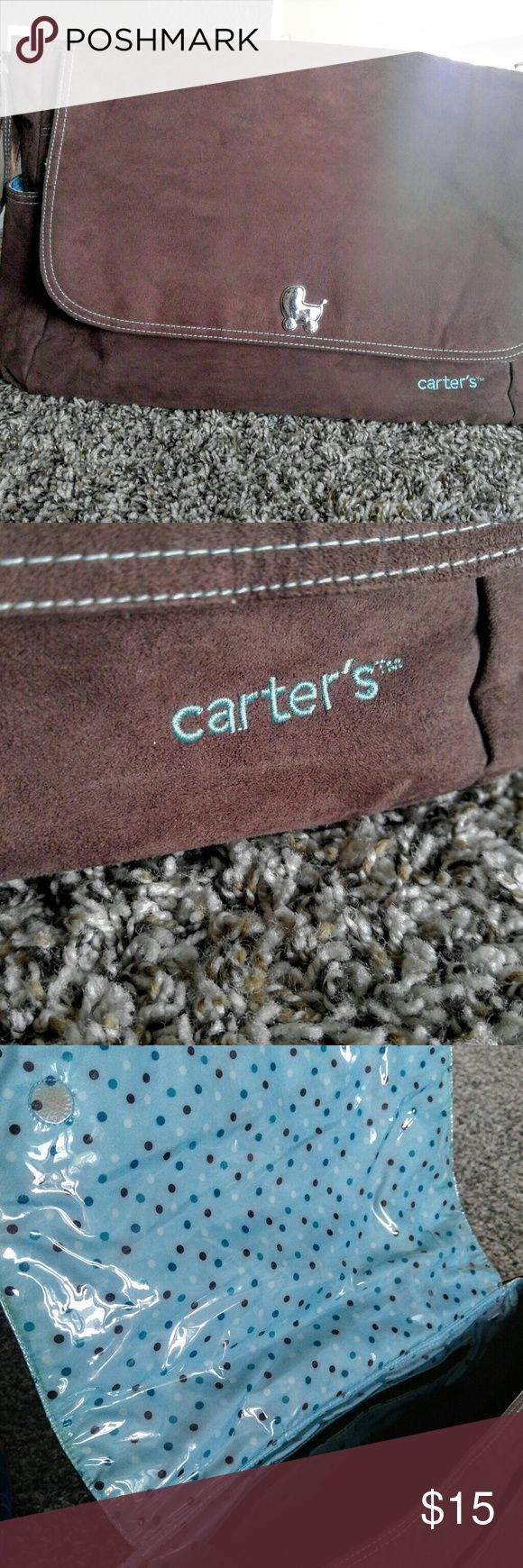 Carter's Brown Suede Messenger Diaper Bag Very nice Brown Carter's Diaper Bag  Comes with matching changing mat This bag is no longer available in stores Carter's Bags Baby Bags