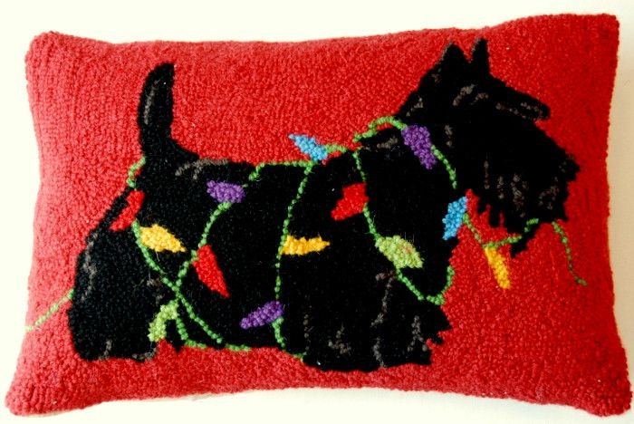 """Scottish Terrier Scottie Dog Holiday Christmas Lights - 12"""" x 18"""" Wool Hooked Pillow                                                                                                                                                                                 More"""