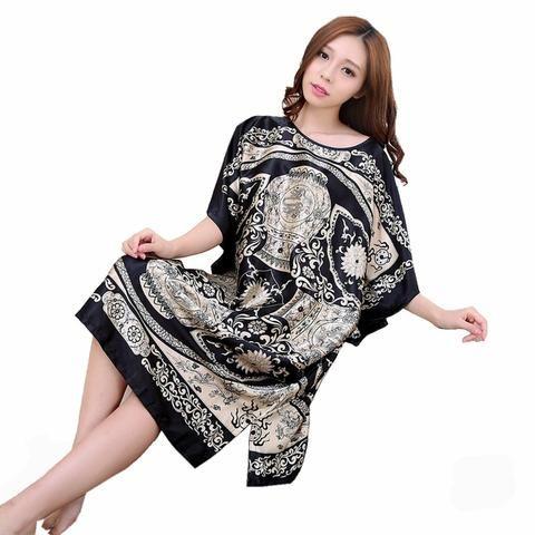 e26ad52f42 Plus Size Summer Women's Faux Silk Nigh Robe Black Lady Bath Gown Nightgown  Bathrobe Sleepwear Mujer