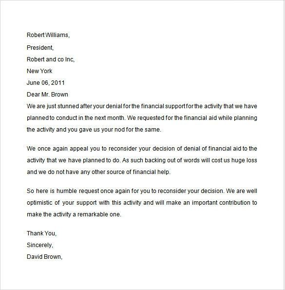 Financial Aid Petition Letter Samples Inspirational 8 With Financial Aid Appeal Letter Template Support Letter Financial Aid Letter Example