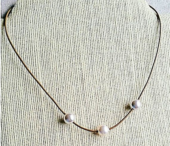 Leather Pearl necklace - Pearl leather necklace - white pearl necklace - Brown Leather necklace - Floating pearls necklace - rustic boho