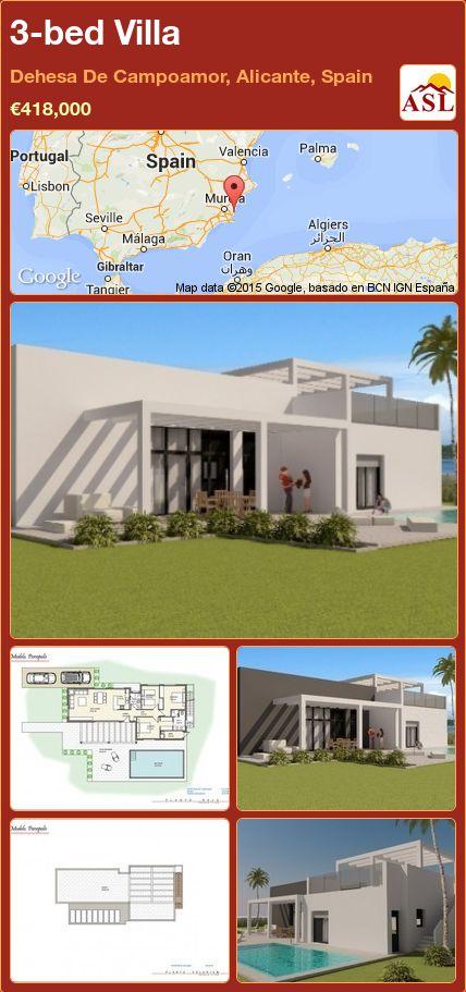3-bed Villa in Dehesa De Campoamor, Alicante, Spain ►€418,000 #PropertyForSaleInSpain