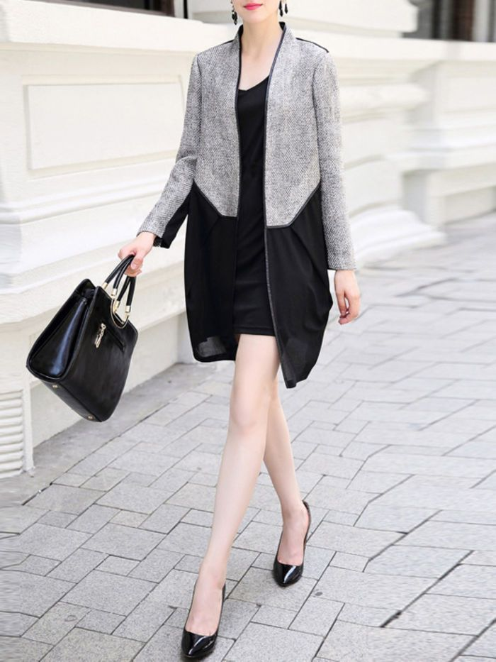 Paneled Color Block Long Coat