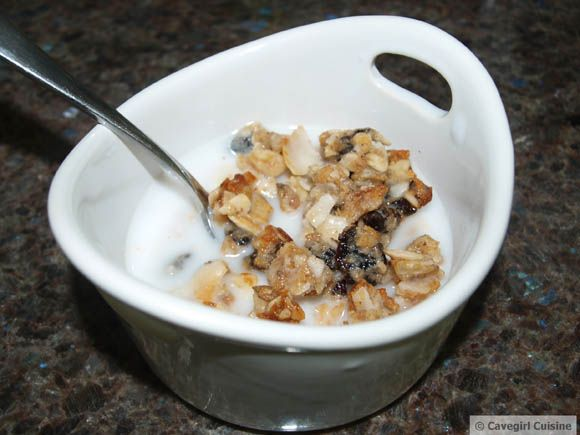 #paleo Honey Bunches of Paleo Cereal: 1 cup unsalted sunflower seeds; 1 cup unsweetened coconut flakes; 1 cup unsalted walnut pieces; ¼ cup dried unsweetened cherries, chopped; 2T raw almond butter; ¼ cup raw honey; ¼ cup coconut flour; coconut oil, enough to grease the pan