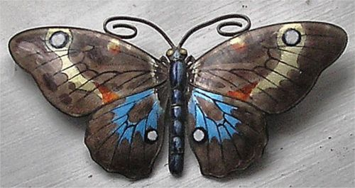 Beautiful Marius Hammer Norwegian Large Solid Silver and Enamel Butterfly 1920'S | eBay
