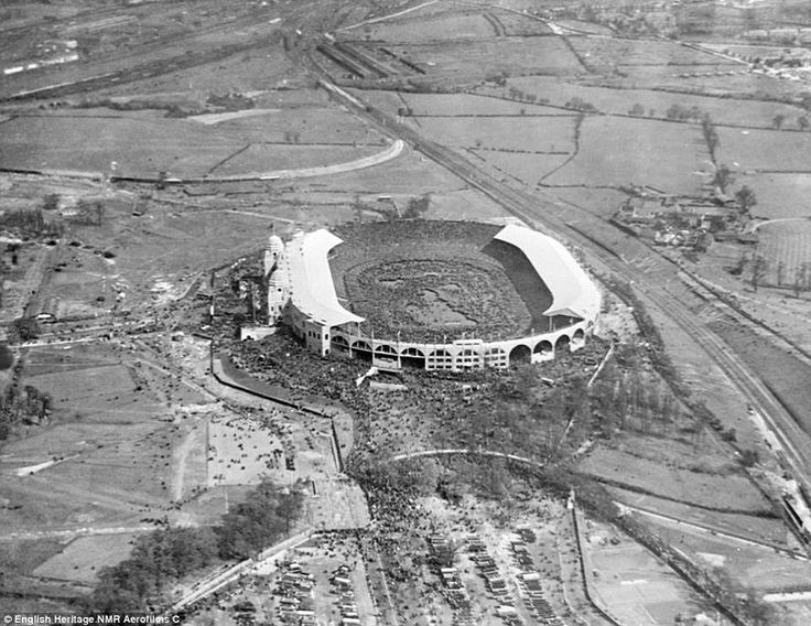 Wembley, Saturday April 28th 1923. The first match at the stadium, the FA Cup final between Bolton Wanderers and West Ham United via reddit