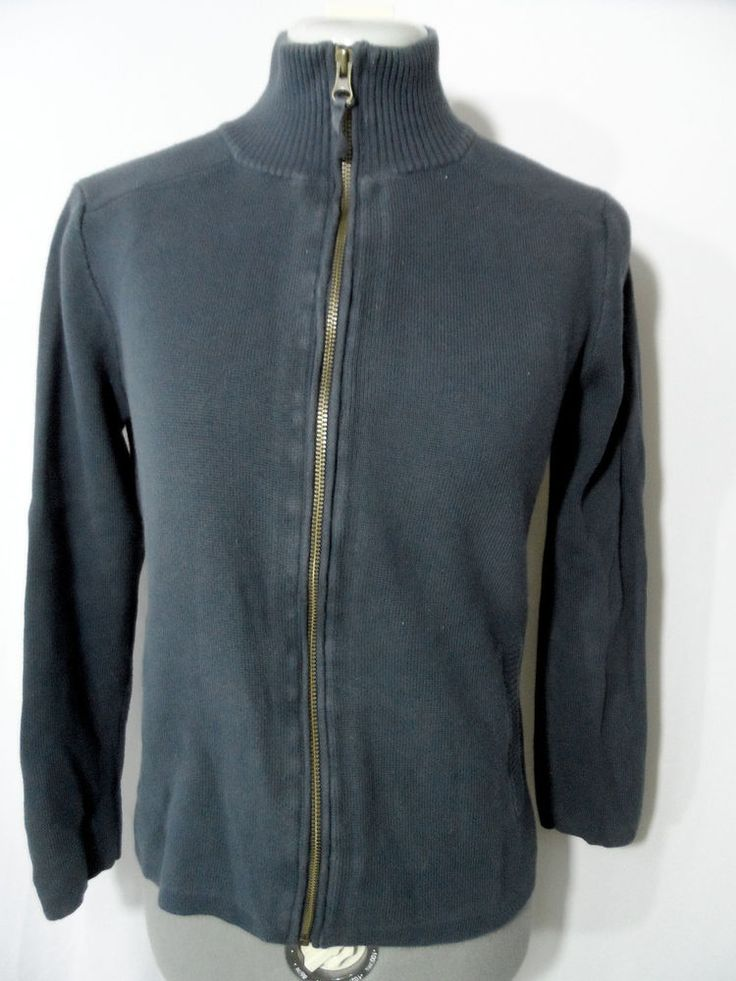 EDDIE BAUER Mock neck Cardigan Sweater womens S/M Blue Zip up Ribbed long sleeve #EddieBauer #Mocknecksweaterribbedcardiganathletic