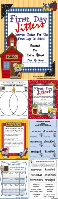 THIS BEST SELLER IS NOW EXPANDED TO 75 PAGES! ~ { A top 100 download } FIRST DAY JITTERS ~Class Discussion Questions & Ideas ~Vocabulary Words, Definition List, Practice, Graphic Organizers & Printables ~Making Connections ~Character Webs ~Reading Comprehension ~Writing Activities ~Double Match Games ~ABC Order Activities ~Venn Diagram ~Story Maps ~Word search ~Anchor Charts~ Foldables $