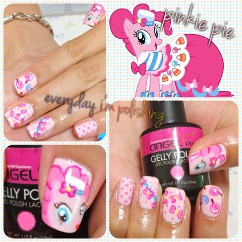 My Little Pony Pinkie Pie Nail Art