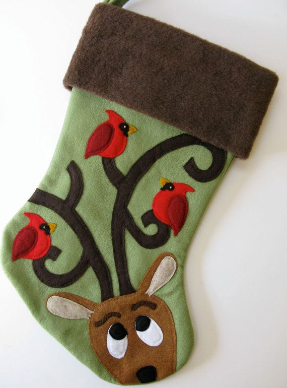 Ordered a felt Christmas stocking too.  Love the birds on the antlers! Personalized Christmas Stocking--Perfect Perch, I heart etsy.com