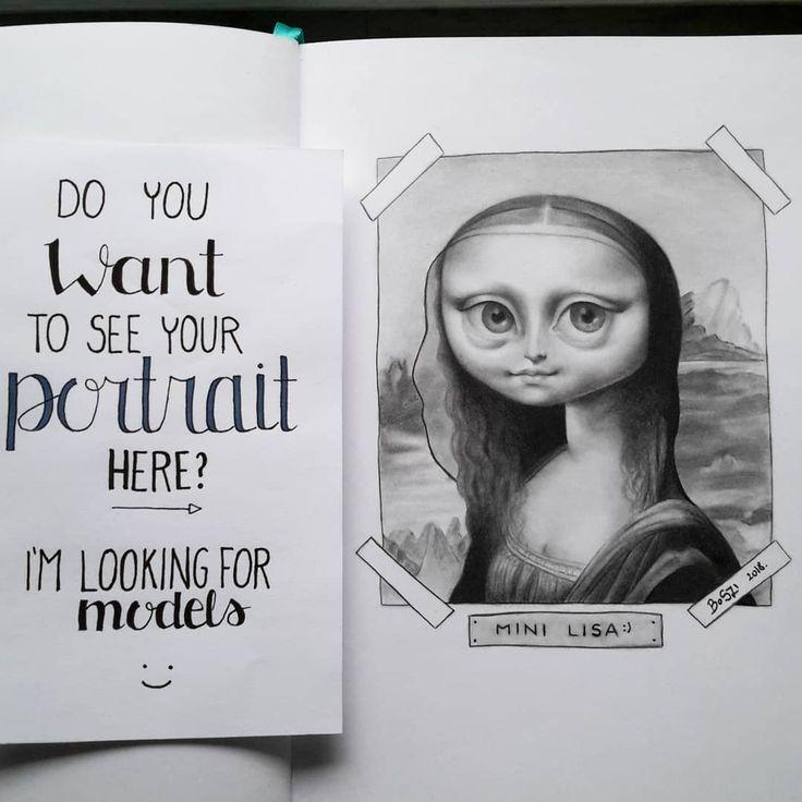 "Szilvia Boda's awesome big eyes art / pop-surrealist ""Mini Lisa"" on Instagram"