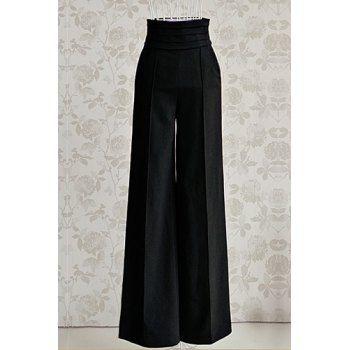 Vintage de cintura alta color sólido pantalones anchos de la pierna para las mujeres