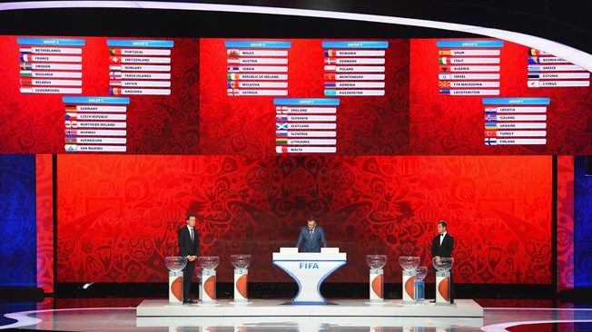 Draw assistant Oliver Bierhoff, FIFA Secretary-General Jerome Valcke and Draw assistant Alexander Kerzhakov during the European Zone Draw