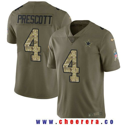 Men's Dallas Cowboys #4 Dak Prescott Olive with Camo 2017 Salute To Service Stitched NFL Nike Limited Jersey