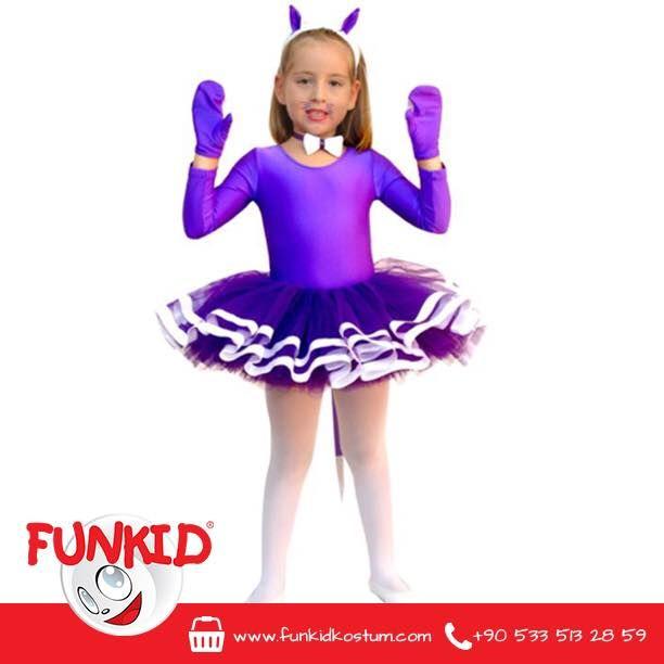 """""""Bir yumak ip, işte hepsi bu! Funkid Ülkesi'nin Mor Kedisi ile oyuna var mısınız? O, dünyanın en oyuncu, en sevimli kedisi olabilir. Üstelik, eldiveni, saç bandı ve papyonu ile çok da şık!"""" Likra kumaş ve tül kullanılan Mor Kedi Kostümümüz 4 farklı bedende bulunmaktadır. funkidkostum.com dan kostümümüze ulaşabilirsiniz. #kedi #cats #funkidkostüm #çocuk #kids #mor #elbise #kostum #costume #costumeparty"""