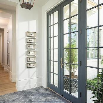 Vestibule with Pale Blue Front Door - Transitional - Entrance/foyer