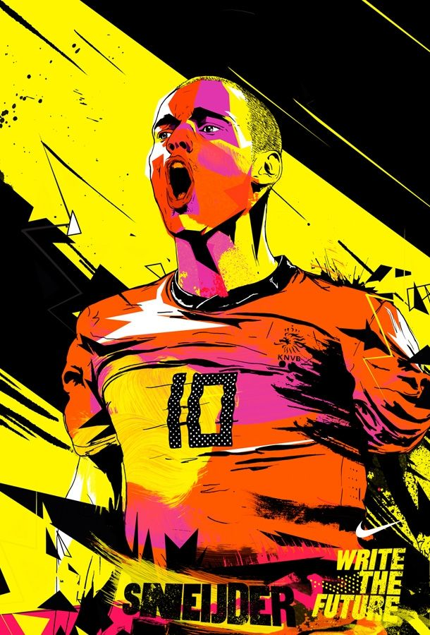 Illustration of my favorite soccer player, Sneijder, by ilovedust