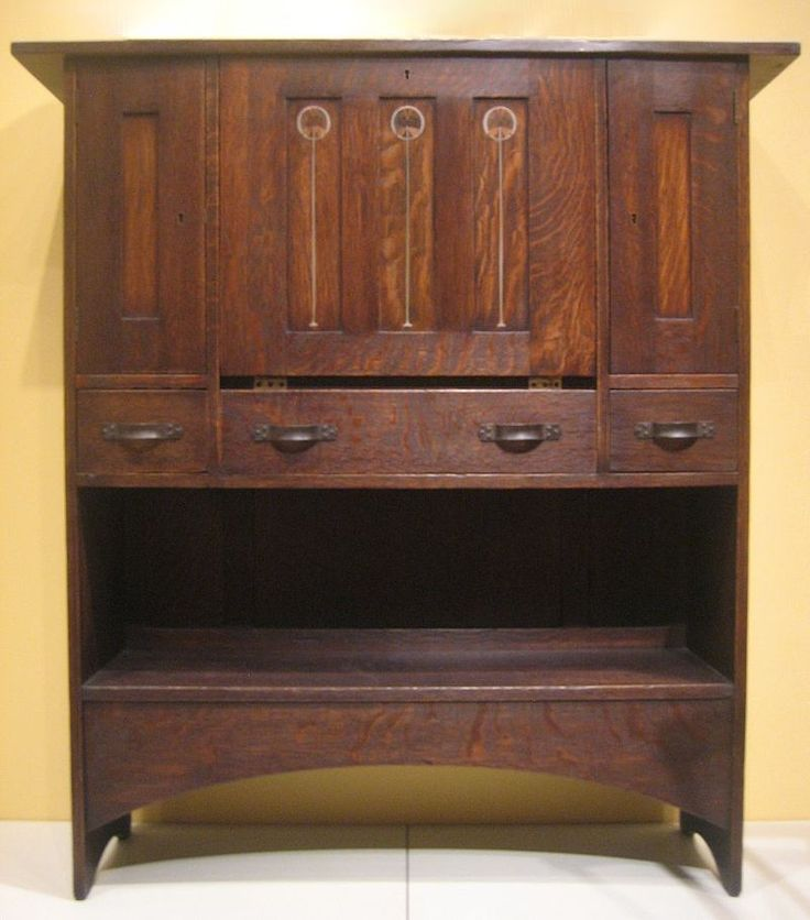 oak wood inlay and brass arts and crafts desk by harvey ellis c 1904 denver art museum