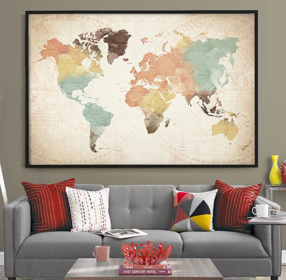 World Map with Countries Watercolor World Map Poster, Large Countries Push Pin Travel World Map Print, Office or Home Decor wall art ------------------------------------------------------------------------------------------------ Available sizes are shown in the SELECT A SIZE drop down menu above the ADD TO CART button ------------------------------------------------------------------------------------------------ ♥ SIZE ( Standard sizes, fit in frames found in big shops like IKEA ) ♥ If…