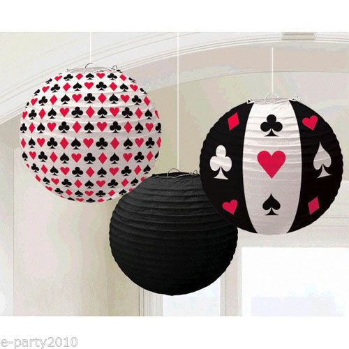 3-CASINO-NIGHT-PAPER-LANTERNS-Birthday-Party-Supplies-Decorations-Poker-Red