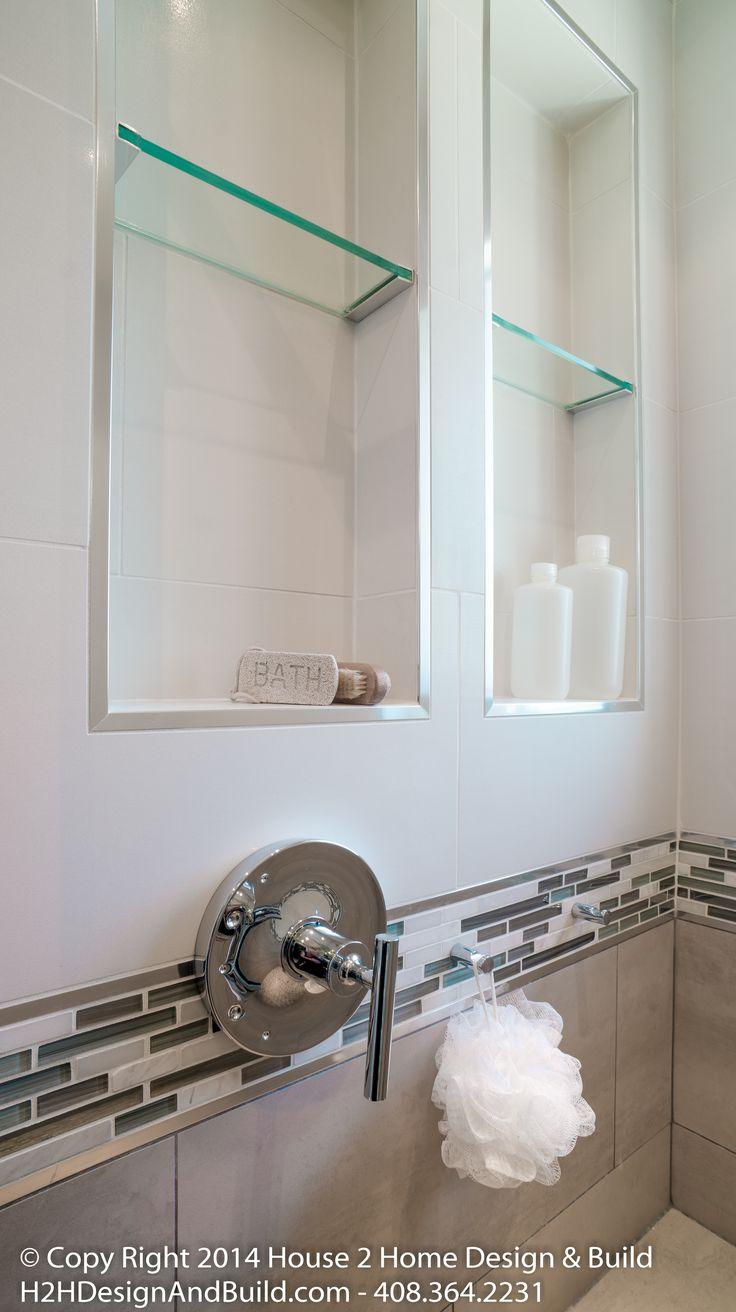Tempered glass shelf, schluter tile edging, chrome shower hooks