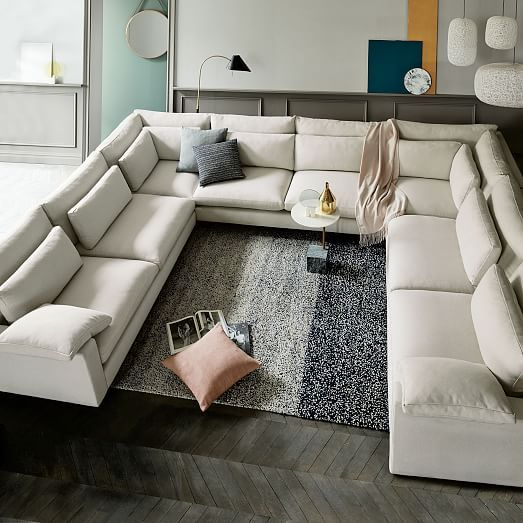Harmony Set 4: Right Arm Sofa, Armless Double, 2 Corner, Left Arm Sofa, Twill, Granite
