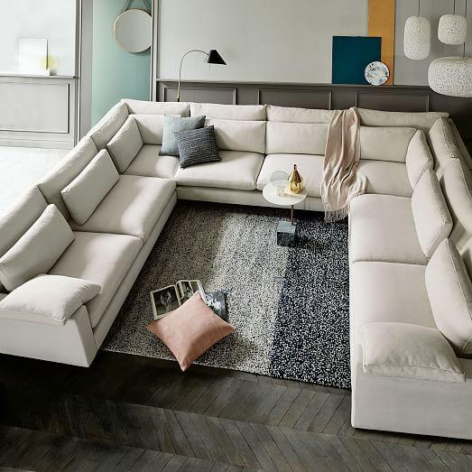 Harmony Set 4: Right Arm Sofa, Armless Double, 2 Corner, Left Arm Sofa, Twill, Granite