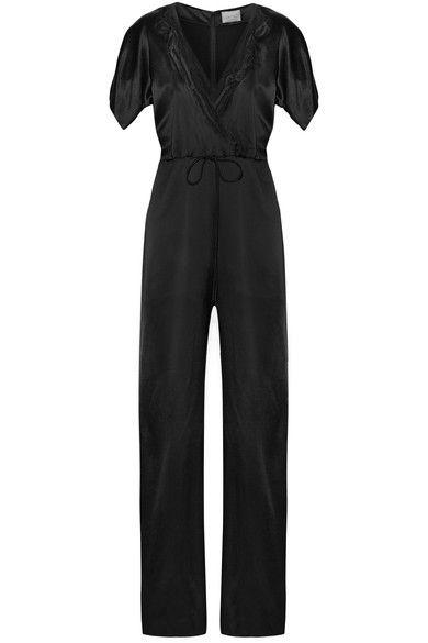 Maiyet - Wrap-effect Organza-trimmed Silk-satin Jumpsuit - Black - US10