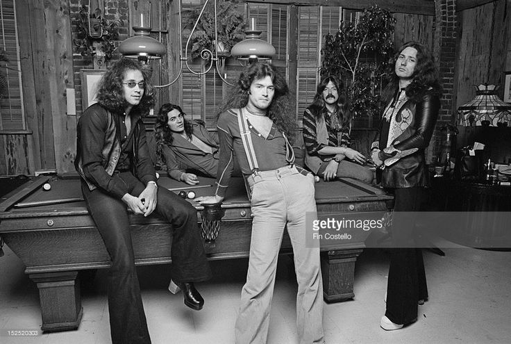 LOS ANGELES, USA - 1st JUNE: English rock group Deep Purple posed at Columbia rehearsal studios in Los Angeles, USA in June 1975. Left to right: Drummer Ian Paice, guitarist Tommy Bolin bassist Glenn Hughes, keyboard player Jon Lord and singer David Coverdale.