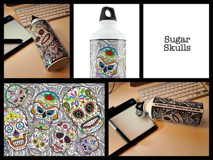 Sugar Skulls Water Bottle www.eggworkshop.com