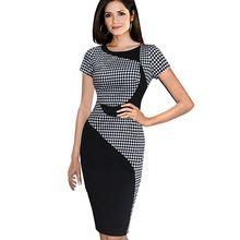 Artı Boyutu Patchwork Kılıf Diz Boyu Kontrast Klasik Siyah Beyaz Ekose Elbise Çalışma Kadınlar Için Yaz Ofis Elbiseler B61 B253(China (Mainland))